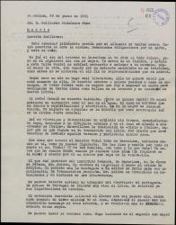 Carta de Miquel Saperas a Guillermo Fernández-Shaw, sobre diversos temas, entre ellos un comentario elogioso de la labor del Orfeó Català, del que es secretario.
