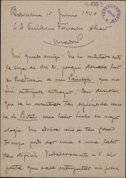 """Carta de Miquel Saperas a Guillermo Fernández-Shaw, elogiando la traducción que éste ha hecho de su obra """"Paisatges"""" y preguntándole por el importe de su traducción."""