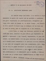 Carta de Mariano Tomás a Guillermo Fernández-Shaw atendiendo una recomendación de éste a favor de Félix Prichard en un consurso literario.