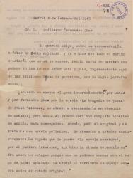Carta de Mariano Tomás a Guillermo Fernández-Shaw comentando el infructuoso resultado de sus gestiones a favor de su recomendado el señor Félix Prichard.