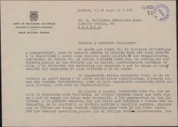 """Carta de Mariano Tomás a Guillermo Fernández-Shaw con comentarios sobre la revista """"Cortijos y rascacielos"""" y sobre la difícil situación del teatro."""