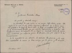 Carta de Enrique Ruiz de la Serna a Guillermo Fernández-Shaw, pidiéndole ayuda en circunstancias adversas.