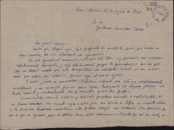 Carta de Enrique Ruiz de la Serna a Guillermo Fernández-Shaw, rogándole ayude a su esposa, actriz, en la próxima temporada teatral.