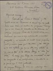 """Carta de Miquel Saperas a Guillermo Fernández-Shaw, mandándole algunas rectificaciones a la traducción de """"Paisatges"""" e interesándose por su obra poética."""