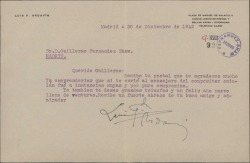 Carta de Luis Fernández Ardavín a Guillermo Fernández-Shaw, disculpándose por haberle enviado a un recomendado por puro compromiso y deseándole feliz año.
