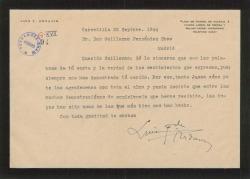 Carta de Luis Fernández Ardavín a Guillermo Fernández-Shaw, agradeciéndole una carta de condolencia.