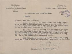 Carta de Luis Fernández Ardavín a Guillermo Fernández-Shaw, agradeciéndole su felicitación por un estreno e interesándose por su salud.