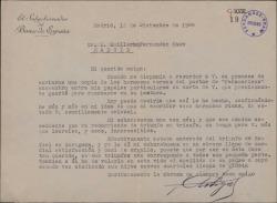 Carta de Ramón Artigas a Guillermo Fernández-Shaw, felicitándole a él y a su hermano Rafael Fernández-Shaw por sus éxitos.