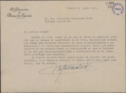 Carta de Antonio Goicoechea a Guillermo Fernández-Shaw, lamentando no poder atender una recomendación a favor de la señorita Encarnación Tinaut.