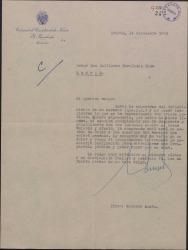 Carta de Eduardo Aunós a Guillermo Fernández-Shaw, dándole el pésame por la muerte de su hermano.