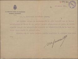 Carta de Manuel García Morente a Guillermo Fernández-Shaw, comentando el éxito de las gestiones a favor de su recomendado Emilio Romero Gómez.