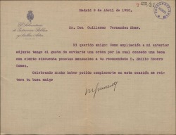 Carta de Manuel García Morente a Guillermo Fernández-Shaw, concretando la beca conseguida a favor de su recomendado Emilio Romero Gómez.