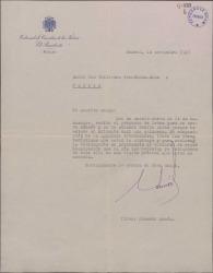 Carta de Eduardo Aunós a Guillermo Fernández-Shaw, acusando recibo de un proyecto que le ha enviado.