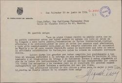 Carta de Miguel Teus, embajador español, a Guillermo Fernández-Shaw, agradeciéndole que cumpliera su encargo con los doctores y diciéndole que se encuentra mucho mejor.