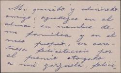 Tarjeta de visita de Emilio Ferraz Revenga a Guillermo Fernández-Shaw, agradeciéndole su felicitación por el premio otorgado a su zarzuela.