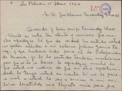 Carta de Manuel Peñate y Sofia Norro a Guillermo Fernández-Shaw, agradeciendo el interés tomado en su recomendación aunque no haya tenido éxito.