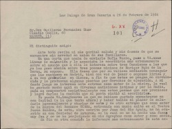 Carta de Manuel Peñate a Guillermo Fernández-Shaw, sobre la posibilidad de que se interpreten unas canciones de las que él es autor de la música, se hagan grabaciones y se vendan con el fin de conseguir ingresos por derechos de ejecución.