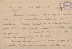 Tarjeta de Alvaro Cavestany a Guillermo Fernández-Shaw, dándole un pésame.