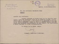 """Carta de Francisco Lizárraga a Guillermo Fernández-Shaw, remitiéndole copia de una carta relacionada con la grabación de un disco de la zarzuela """"Luisa Fernanda"""" por la empresa Raxor Corporation."""