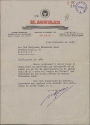 Carta de Manuel Aguilar, editor, a Guillermo Fernández-Shaw, solicitando una fotografía de su padre, Carlos Fernández Shaw, para reproducirla en la antología poética de éste.
