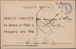 Tarjeta postal de Pedro Chicote a Guillermo Fernández-Shaw, deseándole un feliz año 1946