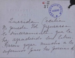 Cartas de Josefina Díez a Cecilia Iturralde, viuda de Carlos Fernández Shaw.
