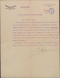 Carta de Henri Hauser a Guillermo Fernández-Shaw, diciéndole que recibirá a su recomendado y le escuchará, pero con la condición de que él esté también en la entrevista.