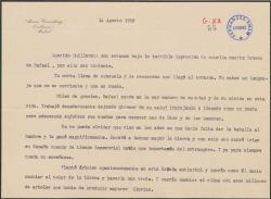 Carta de Alvaro Cavestany a Guillermo Fernández-Shaw, agradeciéndole el pésame por la muerte de un familiar.