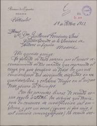 Carta del Sr. Fontcuberta a Guillermo Fernández-Shaw, felicitándole por su nombramiento como Director General de la Sociedad General de Autores de España.