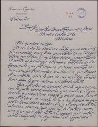 Carta del Sr. Fontcuberta a Guillermo Fernández-Shaw, agradeciéndole su carta y sus amables palabras para con un poema suyo.