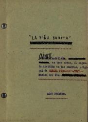 La niña bonita : sainete madrileño, en tres actos, el segundo dividido en dos cuadros / original de Rafael Fernández-Shaw ; música del mtro...