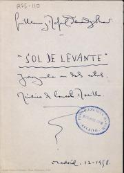 Sol de Levante : zarzuela en dos actos / libro de Guillermo y Rafael Fernández-Shaw ; música de Ernesto Rosillo.