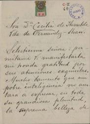 Cartas de Sofía Romero a Cecilia Iturralde, viuda de Carlos Fernández Shaw.