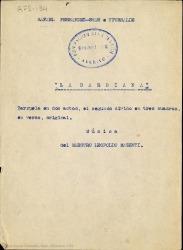 La barbiana : zarzuela en dos actos, el segundo dividido en tres cuadros, en verso, original / Rafael Fernández-Shaw ; música del maestro Leopoldo Magenti.