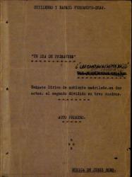 Un día de primavera o Las campanas de Madrid : sainete lírico de ambiente madrileño, en dos actos, el segundo dividido en tres cuadros / Guillermo y Rafael Fernández-Shaw ; música de Jesús Romo.