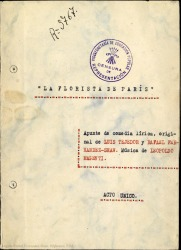 La florista de París : apunte de comedia lírica / original de Luis Tejedor y Rafael Fernández-Shaw ; música de Leopoldo Magenti.
