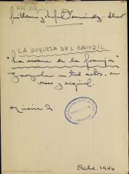 La duquesa del candil : zarzuela en tres actos, en verso y original / Guillermo y Rafael Fernández-Shaw ; música de [Jesús García Leoz].