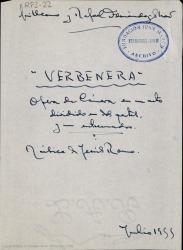 Verbenera : ópera de cámara en un acto dividido en dos partes, y un entrecuadro / Guillermo y Rafael Fernández-Shaw ; música de Jesús Romo.