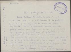 """Carta manuscrita de Ernesto Pérez Rosillo a Guillermo Fernández-Shaw, en la que comenta la posible adaptación lírica de la obra """"Fray Escoba""""."""