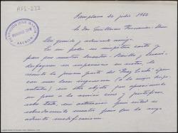 """Carta manuscrita de Jaime G. Herranz a Guillermo Fernández-Shaw en la que le remite la primera parte de """"Fray Escoba"""", con unas indicaciones para la versión de ópera."""