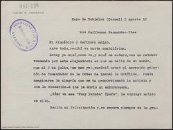"""Carta mecanografiada de Jaime G. Herranz a Guillermo Fernández-Shaw en la que le felicita por su galardón de Comendador de la Orden de Isabel la Católica, y le pregunta por la ópera """"Fray Escoba""""."""