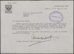 """Carta mecanografiada de Torcuato Luca de Tena, director de """"ABC"""", a Rafael Fernández-Shaw, en la que agradece su carta con motivo de la actitud del periódico sobre los derechos de autor."""