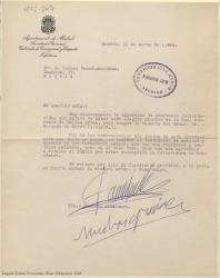 Carta mecanografiada de Jacinto Alcántara a Rafael Fernández-Shaw agradeciendo su felicitación por haber sido elegido miembro de la Real Academia de Bellas Artes.