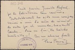 Tarjetón manuscrito de Francisco Pierrá a Rafael Fernández-Shaw agradeciendo su felicitación.