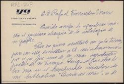 Tarjetón manuscrito de Raimundo de los Reyes a Rafael Fernández-Shaw agradeciendo la antología de poesía de su padre que le ha enviado.