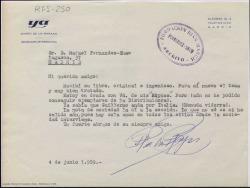 Carta mecanografiada de Raimundo de los Reyes a Rafael Fernández-Shaw agradeciendo el envío de su libro.