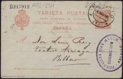 """Tarjeta postal de Carlos Fernández Shaw a Luis Reig, del teatro Arriaga de Bilbao, en la que le pregunta si ha recibido la copia corregida de su obra """"El hombre feliz""""."""