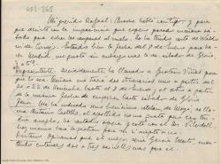 Carta manuscrita de Marcos Redondo a Rafael Fernández-Shaw en la que le comenta sus gestiones para el montaje de una obra, en cuanto a cantantes, decorados, fechas de representaciones y otros detalles.