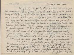 """Carta manuscrita de Marcos Redondo a Rafael Fernández-Shaw en la que le comenta la gira con la obra """"El gaitero de Gijón"""" y le pide que gestione la sastrería."""