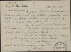 """Carta manuscrita de Marcos Redondo a Rafael Fernández-Shaw en la que le comenta el éxito de """"El gaitero de Gijón"""" en Málaga."""